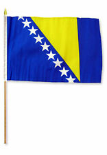 "12x18 12""x18""  Bosnia and Herzogovina Stick Flag wood 30 inch staff"