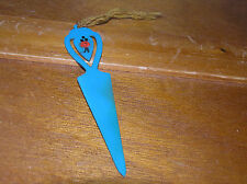 Old Antique Vintage Blue Plastic Celluloid with Dainty Pink Rose Bookmark