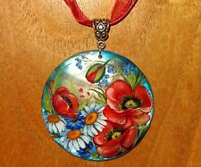 Russian hand painted White LIP SHELL PENDANT WILD POPPY Blue FLOWERS UNIQUE GIFT