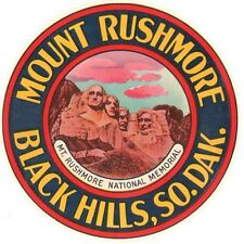 Mount Rushmore SD Black Hills Vintage 1950's-Style  Travel Decal  Sticker  Label