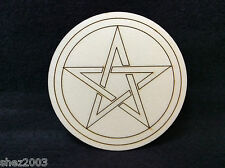 Handcrafted Wooden Altar Tile with Pentagram ~ Ritual ~ Cauldron ~ Pagan ~ Wicca
