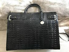 BRAHMIN BUSINESS TOTE BRIEF CASE WORK BAG LUGGAGE BLACK ONYX CROC LEATHER