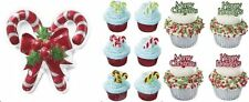 25pc Candy Cane Cupcake Picks Topper  Merry Christmas Happy Holidays Script SET