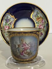 "Antique Sevres Cup & Saucer - Chateau des Tuileries -1844 -Artist Signed ""Morin"""