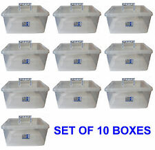10 x Plastic Storage 15L Clippy Box Lid Handle Clear Strong Stationary TML812