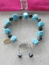Lola Rose Blue Black Grey Sury Bracelet & Pink Lola Rose Pouch & Gift Card  NEW