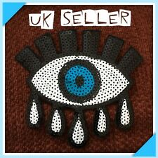BIG 14cm Blue All Seeing Eye Sequin Iron / Sew On Embroidered Cloth Patch