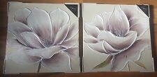 SET 2 CREAM BROWN WHITE GLITTER FLOWER FLORAL CANVAS WALL PICTURE HAND PAINTED