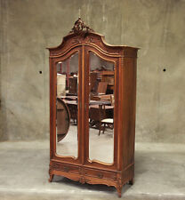 Z04-1 : Large Antique French Walnut Louis XV 2 Door Armoire Wardrobe Cabinet