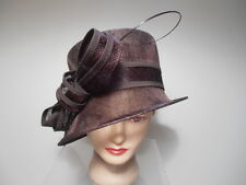 Hat - BROWN Sinamay Wide Brim Kentucky Derby Church Bows Spike