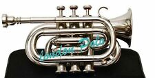 AAA Quality Nickal Lacquer Pocket Trumpet Cornet Large bell Horn