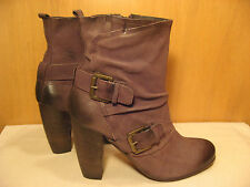 Boutique 9 by Nine West High Heel Buckle Strap Leather Ankle Boots - Size 11 M