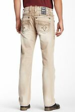 NWT Rock Revival Kingsley in T3 Brown Fleur De Lys Straight Leg Jeans 32 x 33