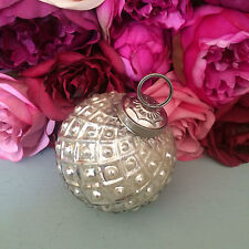 Antique Silver Round Glass Bauble, Vintage/Shabby Chic Christmas Decoration