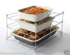 3 TIER OVEN RACK * CHROME PLATED SHELVES *cooking roasting space saving foldable
