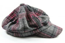 LADIES PLAID PINK/GREY RETRO LOOK GASTBY HAT /CAP STATEMENT PIECE(HT7)