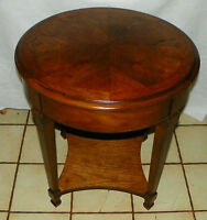 Round Walnut Book Match Veneered End Table / Side Table by Lane  (T312)