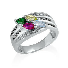 Personalized 925 Sterling Silver Ring with Birthstones- Gift for Mom