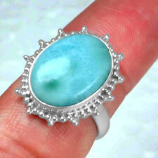 925 Sterling Silver Natural 100% Pure Larimar Rings 7 US  Jewelry hand made