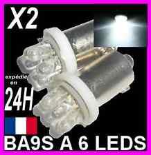 AMPOULES BLANCHE A 6 LEDS 5W T4W BA9S 12V FEU XENON VEILLEUSE PLAQUE PLAFONNIER