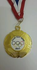 OLYMPIC - SPORTS DAY - PERSONALISED SCHOOL/CLUB MEDAL AND RIBBON