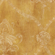 CH22566 Gold Damask Distressed Wallpaper
