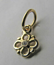 RETIRED Pandora ALE 585 14K Yellow Gold Dangle Flower Charm w/ Diamond #350133D
