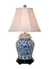"""Beautiful Blue and White Porcelain Ginger Jar Table Lamp Floral Patterned 28.5"""""""