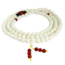 Lotus Flower White Tridacna Shell Tibet Buddhist 108 Prayer Beads Mala Necklace