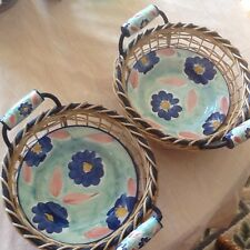 "Pier 1 import  ~ 2 ~ 9"" Handpainted Bowls With Matching Baskets  Made In Italy"