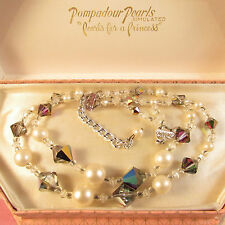 Vintage 1960s 2 Strand Faux Pearl & Rainbow Glass Crystal Beaded Necklace