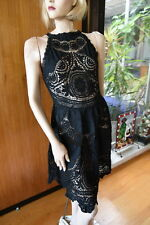 LIM'S CLASSIC HAND CROCHET EMBROIDERY ZIPPER BACK COTTON DRESS M BLACK