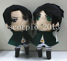 2X New Attack On Titan Eren Jaeger & Levi Rivaille Plush Doll Toy One Set