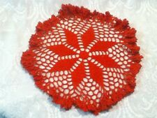 """11"""" Vintage Christmas Red Hand Crochet Round Doily Lace Mat Ruffle Table Protect"""