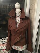 All Saints Ladies Brown 100% Real Leather Jacket Size 8 Military Coat