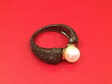 SOLID 925 black hues STERLING SILVER White Pearl RING SIZE 6 stamped