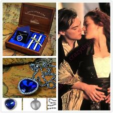 Romantic Valentine gift Titanic Heart of the Ocean Necklace with Wooden Box love