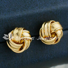 9K 9CT Yellow GOLD GF Twist Pattern Large LUCKY KNOT Stud EARRINGS Womens ES604