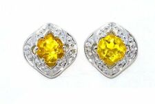 4mm Citrine Round Shape Stud Earrings .925 Sterling Silver