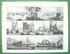 SHIPS Naval Equipment Cranes Roadsteads Arsenal Piles - SUPERB Antique Print