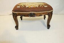 antique french Louis xv hand carved walnut footstool ,rest original needlepoint