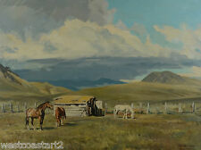 "Peter Ewart 1918-2001 30x40"" Original Painting Horses Landscape Canadian Listed"