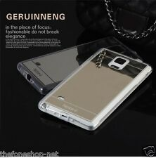 Luxury Mirror View Elecplated Soft PU Back Case For Samsung Note 4 [BLACK]