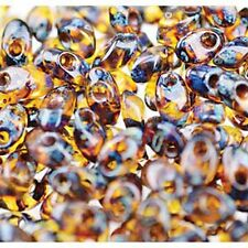 100 gr Picasso Dark Amber 4x7mm Miyuki Long Magatama Glass Fringe Seed Beads