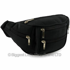 NEW SIX 6 Zips Black Waist Bum Bag Fanny Pack MICROFIBRE Travel Holiday Security