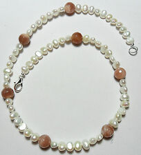 "Freshwater pearls,Peach Moonstone beads, 18.75"" necklace"