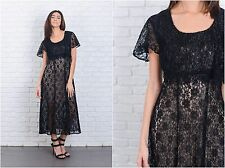 Vintage 80s Black Maxi Lace Dress Crochet Lace Sheer Small S Retro