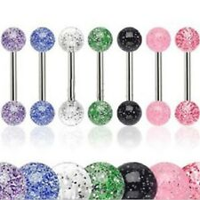 7pcs Glitter Ball Tongue Bar/Nipple Bar Ring Barbell Studs - Surgical Steel