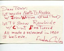 Linden Chiles The Virginian The Twilight Zone The Invaders Signed Autograph Note