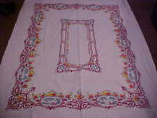 Vintage Flower & Scenery Tablecloth